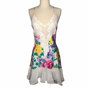 Victoria Secret Gold Floral Nightgown L White VTG